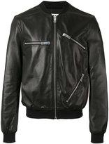 Les Hommes zips bomber jacket - men - Cotton/Lamb Skin/Viscose/Polyester - 48