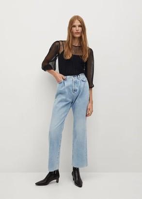 MANGO Openwork Plumeti blouse
