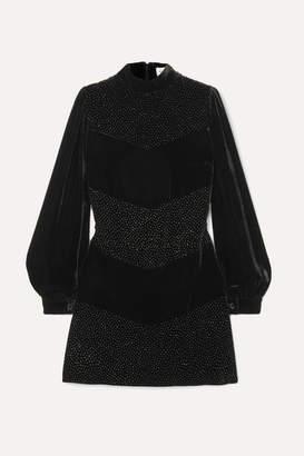 Raquel Diniz Chloe Crystal-embellished Velvet Mini Dress - Black