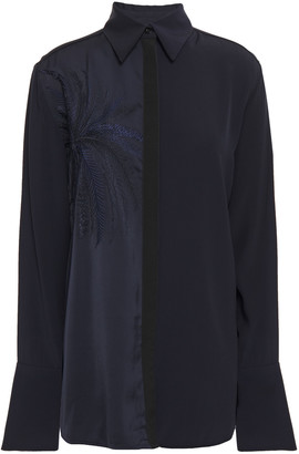 Victoria Victoria Beckham Embroidered Satin And Crepe Shirt