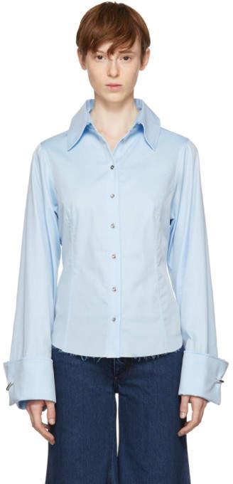 Marques Almeida Blue Pierced Cuff Shirt
