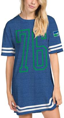 Junk Food Clothing Unbranded Women's Heathered Royal Seattle Seahawks Varsity Stripe Tri-Blend Dress