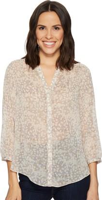 NYDJ Women's 3/4 Sleeve Crinkle Chiffon Blouse