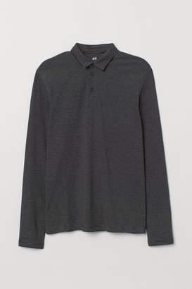 H&M Long-sleeved Slim Fit Shirt - Black
