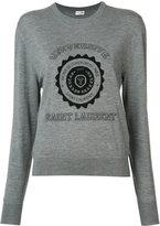 Saint Laurent cashmere college print knitted jumper - women - Cashmere - XS