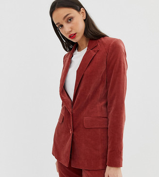 Asos Tall DESIGN Tall suit blazer in velvet-Pink