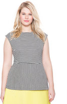 ELOQUII Plus Size Striped Boatneck Peplum Top