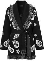 Alanui - Bandana Embroidered Fringed Cashmere Cardigan - Black