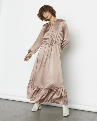 Jigsaw Silk Satin Ruffle Hem Dress