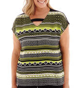 Alfred Dunner Morocco Short-Sleeve Geo-Print Biadere Blouse