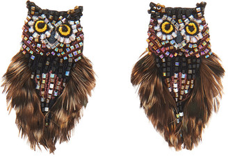 Mignonne Gavigan Mini Owl Earrings, Brown