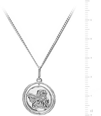 The Love Silver Collection Sterling Silver Cherub Spinner Pendant Necklace