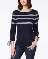 Charter Club Ribbon-Trim Tie-Sleeve Top, Created for Macy's
