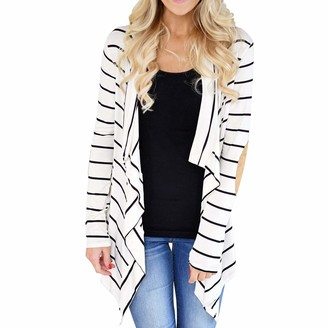 LAEMILIA Women Striped Long Sleeve Shawl Collar Elbow Patch Sweater Open Front Cardigan Black White Coat Outwear