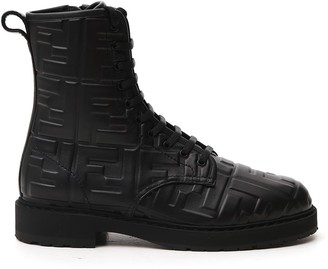 Fendi FF Embossed Lace-Up Boots