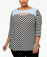 NY Collection Plus Size Striped Keyhole Top