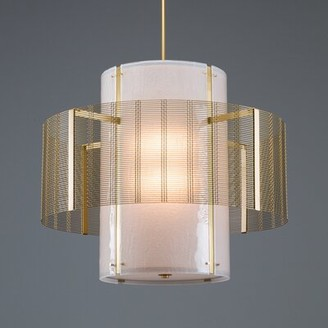 BEIGE Downtown Mesh Double 8-Light Unique / Statement Drum Chandelier Hammerton Studio Finish: Metallic Silver, Bulb Type: Incandescent