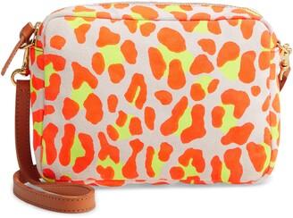 Clare Vivier Midi Neon Print Suede Crossbody Bag