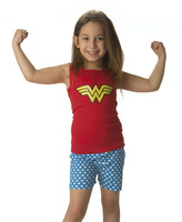 Intimo Red & Blue Wonder Woman Logo Tank & Shorts - Girls