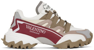 Valentino White and Pink Garavani Climbers Sneakers