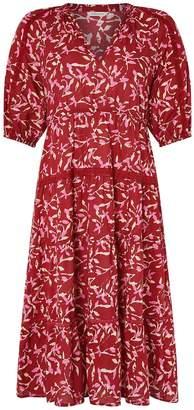 Monsoon Blake Woodblock Print Ecovero Midi Dress - Red