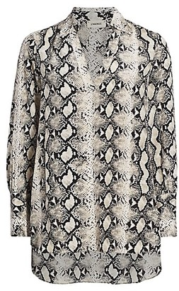 L'Agence Braydon Snake Print Silk Tunic