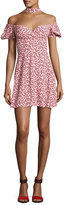 Alexis Loele Off-the-Shoulder Draped Choker Dress, Pink
