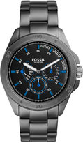 Fossil Men's Chronograph Sport 54 Smoke-Tone Stainless Steel Bracelet Watch 44mm CH3035