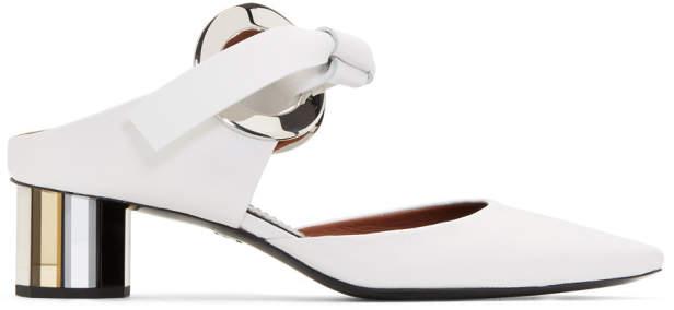 Proenza Schouler White Grommet Block Heel Mules