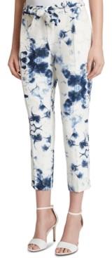 Tahari ASL Printed Jacquard Belted Cropped Pants