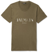 Balmain Metallic Printed Cotton-jersey T-shirt