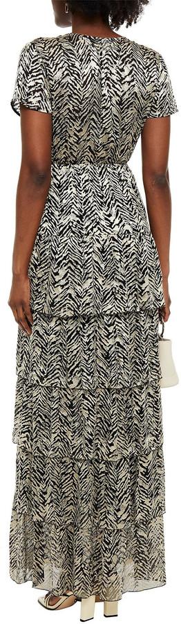 Thumbnail for your product : BA&SH Zelie Tiered Wrap-effect Burnout Satin Maxi Dress