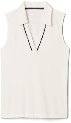Tory Burch Performance Pique Ruffle Sleeveless Polo