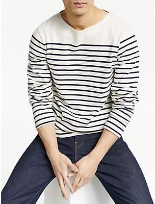 John Lewis & Partners Cotton Long Sleeve Breton Stripe T-Shirt