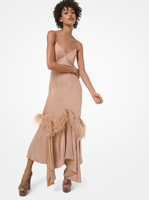 Michael Kors Feather-Embroidered Satin Charmeuse Handkerchief Slip Dress