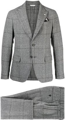 Manuel Ritz Plaid Single-Breasted Blazer
