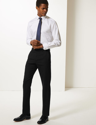 Marks and Spencer Big & Tall Black Textured Slim Fit Trousers