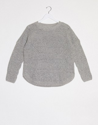 Only Bernice long sleeve round neck sweater in gray