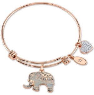 "Unwritten All Good Things are Wild and Free"" Elephant Charm Adjustable Bangle Bracelet in Rose Gold-Tone & Stainless Steel"