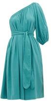 Loup Charmant Azores One-shoulder Organic-cotton Dress - Womens - Blue
