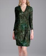 Aster Green Scroll Surplice Dress - Plus Too