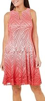 London Times Women's Petite Ombre Palm Lace Fit and Flare with Keyhole Neck Detail
