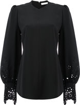 Chloé laser cut bell sleeved blouse - women - Silk/Cotton/Acetate/Viscose - 36