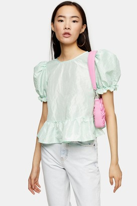 Topshop Mint Bow Back Taffeta Top
