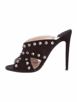 Miu Miu Suede Studded Sandals Black