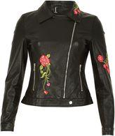 Izabel London Floral Embroidered Leather Look Jacket