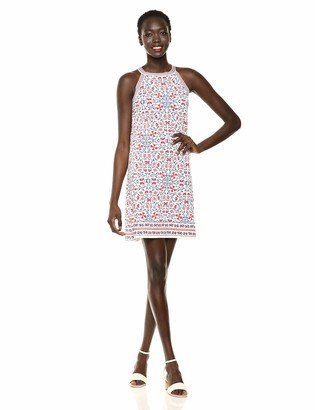Max Studio Women's Border Crisscross Printed Matte Jersey Halter Dress