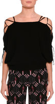 Valentino Lace-Up Cold-Shoulder Sweater, Black