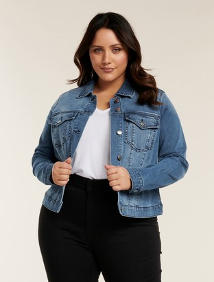 Forever New Annie Curve Denim Jacket - Classic Wash - 22