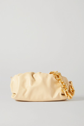 Bottega Veneta The Chain Pouch Gathered Leather Clutch - Beige
